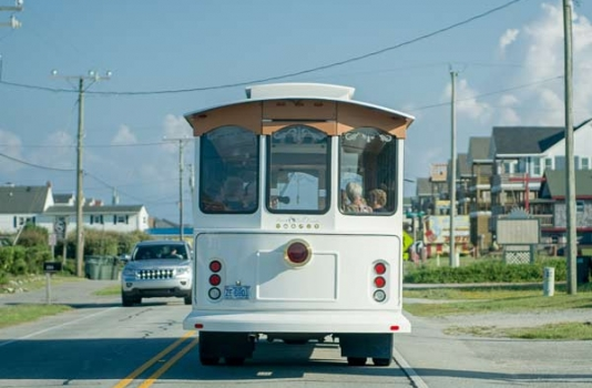 OBX Vacation Fun Guide - Rearview photo of OBX Trolley